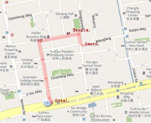 Schéma du chemin à Suzhou